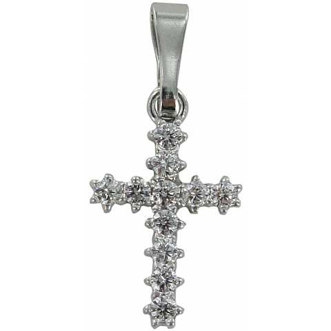 Croce in argento 925 con strass bianchi - 1,6 cm