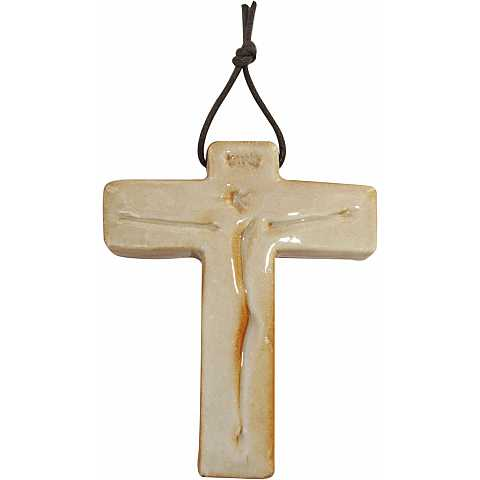 STOCK:Croce in porcellana Cristo 7x6