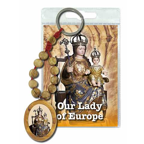 Portachiave decina e medaglia in ulivo Our Lady of Europe con preghiera in inglese