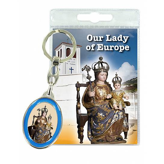 Portachiavi doppio Our Lady of Europe con preghiera in inglese