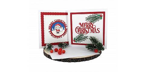 Decorazioni Natalizie Per Biglietti Di Auguri.Biglietti Di Auguri Per Natale Fatti A Mano In Cartoncino Con Busta Scritta Merry Christmas Confezione 2 Biglietti Biglietti1 Ferrari Arrighetti