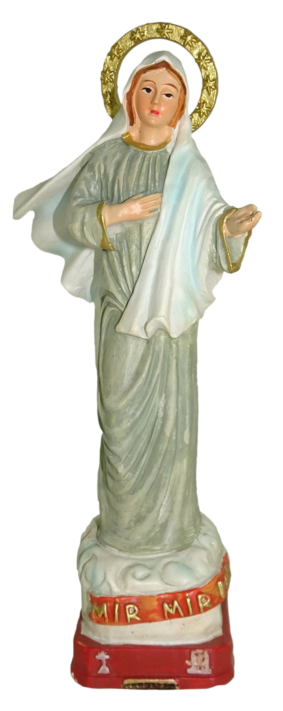 Statua di San Matteo da 12 cm in Confezione Regalo con segnalibro in Versione Francese